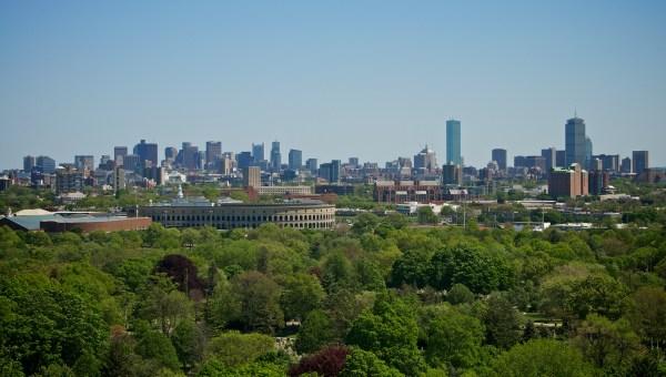 the skyline (with Harvard Stadium)
