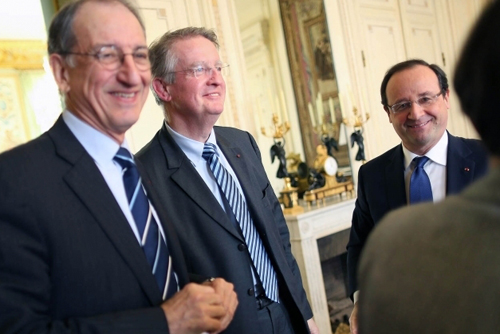 Bernard Lapasset - Denis Masseglia et François Hollande