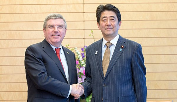 Thomas Bach et Shinzo Abe - mars 2015