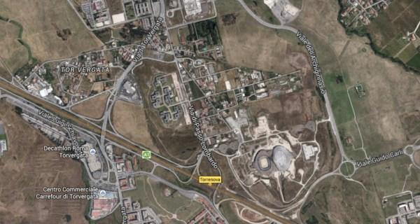 Vue aérienne du quartier de Tor Vergata avec notamment les