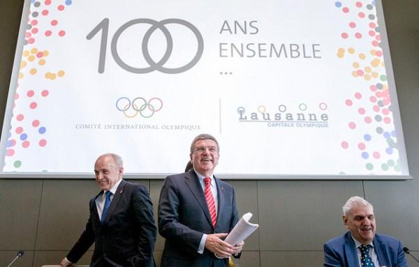 Thomas Bach, Président du CIO, lors du 100e anniversaire de l'implantation de l'institution à Lausanne (Crédits - Ian Jones / CIO / Flickr)