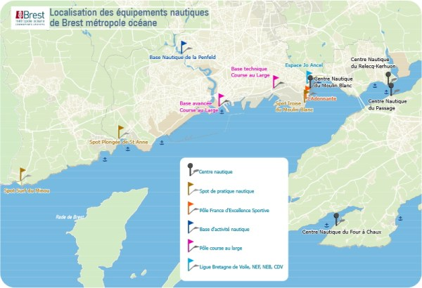 Brest - localisation des équipements nautiques