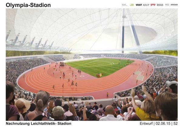 Esquisse du Stade Olympique après les Jeux. La capacité est ici portée de 70 000 à 20 000 places (Crédits - Ville de Hambourg)