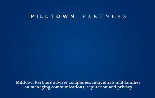 """""""Milltown Partners conseille les entreprises, les individus et les famille sur la gestion des communications, la réputation et la vie privée"""" (Crédits - Milltown Partners)"""