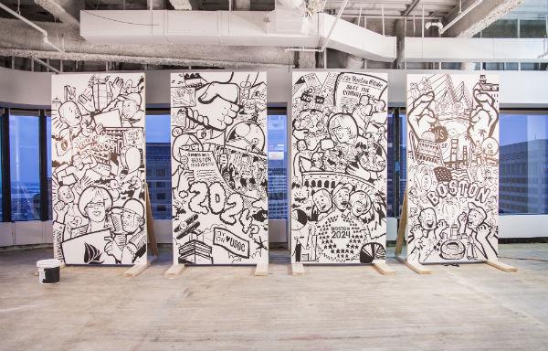 Peinture murale représentant les débuts de l'aventure olympique de Boston (Crédits - Boston 2024)