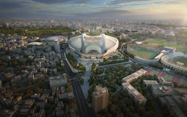 Visuel du projet de Stade Olympique de Tokyo porté par Zaha Hadid. Le projet a finalement été abandonné (Crédits – Zaha Hadid)