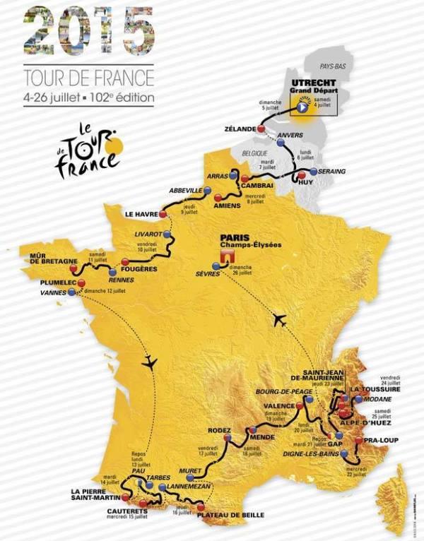 Parcours du Tour de France 2015 (Crédits - ASO / Tour de France)