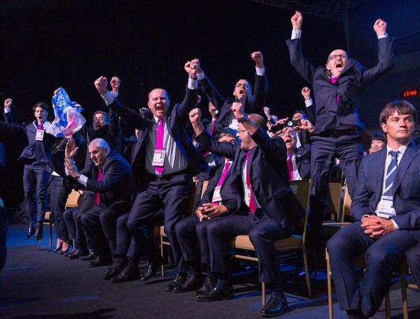La délégation de Lausanne 2020 au moment de l'annonce des résultats (Crédits - CIO / Ubald Rutar)