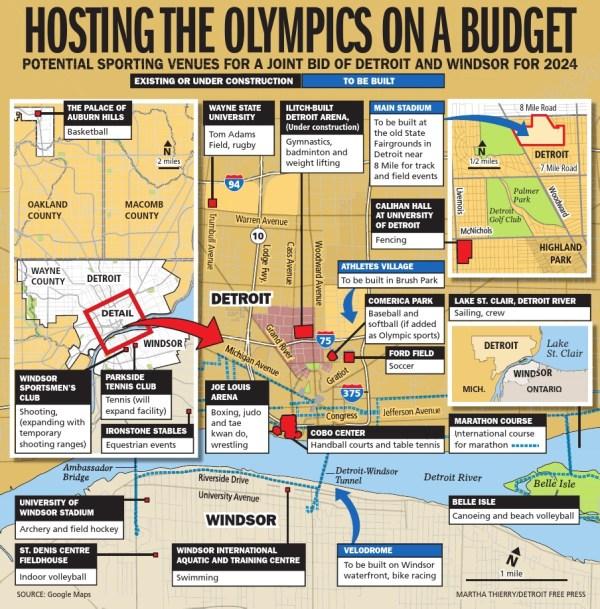 Projet olympique potentiel dans le cadre d'une candidature conjointe de Détroit et Windsor (Crédits - Detroit Free Press)