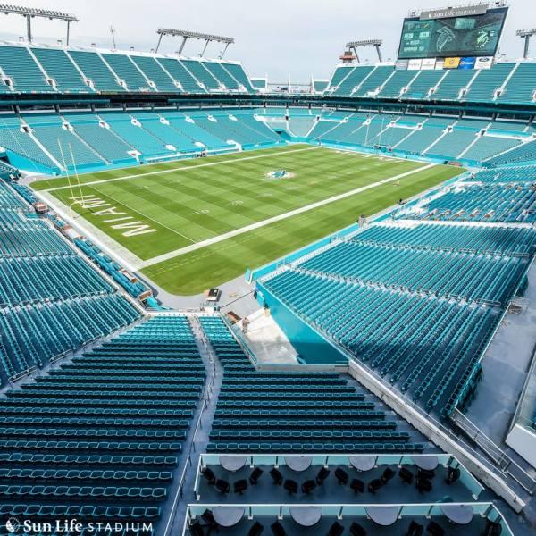 Vue des tribunes et du terrain du Sun Life Stadium de Miami (Crédits - New Miami Stadium)