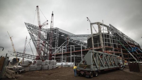 Vue du parvis et des contours des futures portes de l'US Bank Stadium (Crédits - Minnesota Vikings)