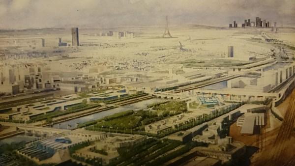 Visuel du projet d'aménagement du quartier olympique Bercy-Tolbiac au milieu des années 1980 (Crédits - Paris 1992 / Archives Sport & Société)