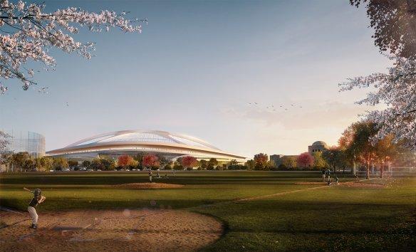 Visuel du Nouveau Stade National du Japon par Zaha Hadid (Crédits - Zaha Hadid Architects)