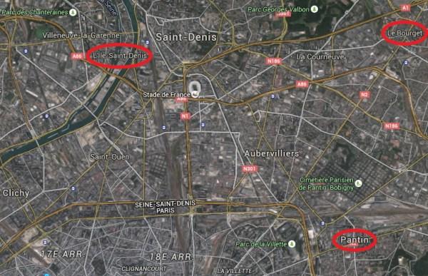 Les trois sites proposés seraient proches du Stade de France ainsi que du futur Centre Aquatique à Aubervilliers (Crédits - Google Map)