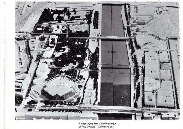Visuel du projet de Village des Athlètes de Paris 1992. Le projet reposait sur l'aménagement de deux parties distinctes de chaque côté de la Seine