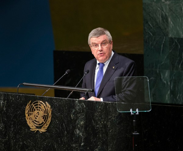 Thomas Bach à la tribune des Nations Unies, le 26 septembre 2015 (Crédits - CIO / Ian Jones)