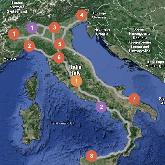 En rouge, les villes proposées pour les phases préliminaires ; en violet, les villes proposées pour les quarts et les demi-finales ; en orange, Rome, ville choisie pour les finales (Crédits - Montage Sport & Société / Google Maps)