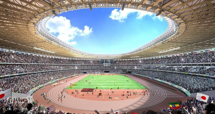 Visuel du futur Stade Olympique de Tokyo 2020 (Crédits - Kengo Kuma)