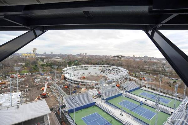 Vue des travaux du GrandStand Stadium, le 04 janvier 2016 (Crédits - US Open)