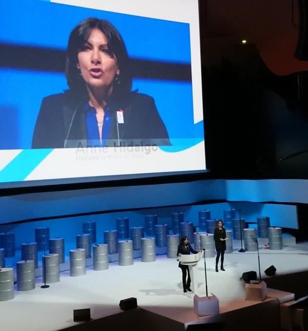 Anne Hidalgo, Maire de Paris, lors de la présentation du concept de Paris 2024, le 17 février dernier (Crédits - Sport & Société)