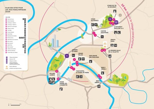 Carte des sites paralympiques de Paris 2024
