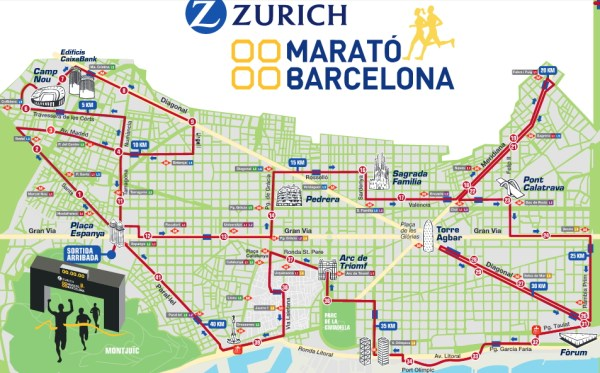 Carte du Marathon 2016 (Crédits - Marathon de Barcelone)