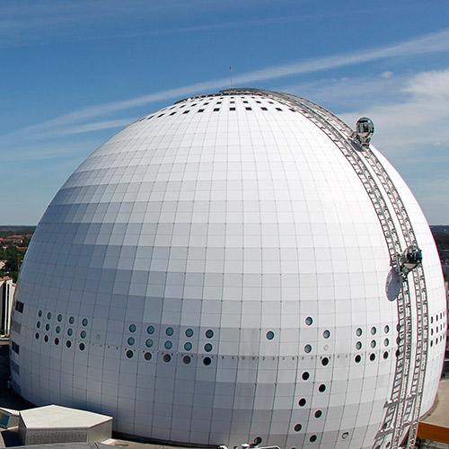Vue extérieure de l'Ericsson Globe de Stockholm (Crédits - Site officiel)