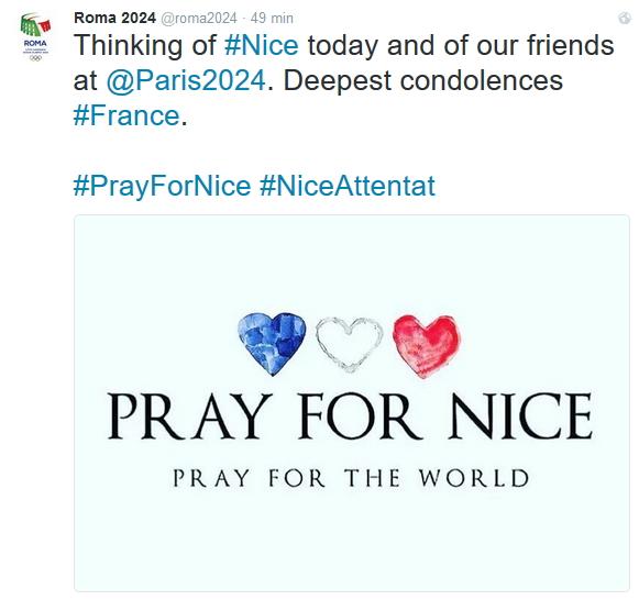 """""""Pensées pour Nice aujourd'hui et pour nos amis de Paris 2024. Sincères condoléances à la France"""" (Crédits - Roma 2024)"""
