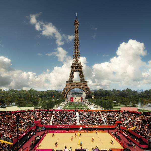 Visuel du stade de beach-volley sur le Champ-de-Mars (Crédits - Paris 2024)