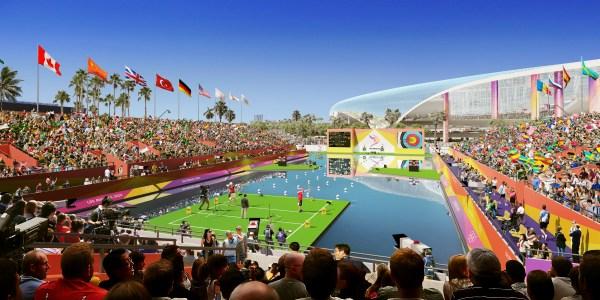 Site temporaire dédié au tir-à-l'arc face au L.A. Stadium (Crédits - LA 2024)