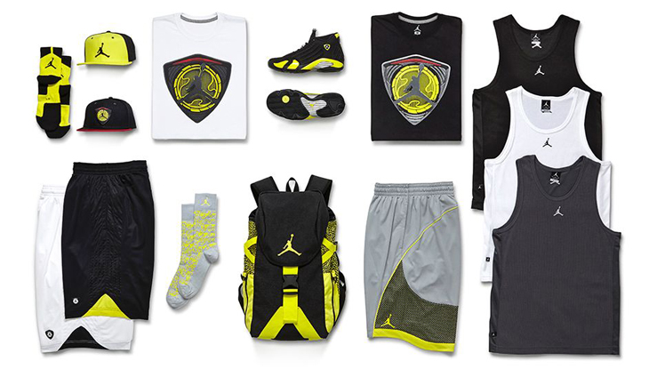 c60b3296f04d23 Air Jordan 14 Thunder Clothing Collection