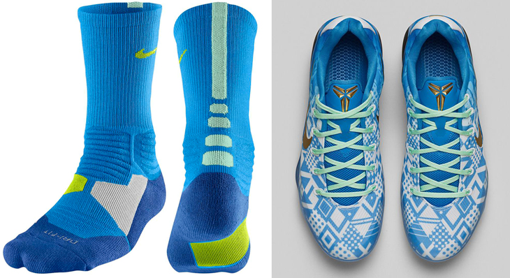 "uk availability 3f6d2 1da40 Nike Hyper Elite Socks to Sport with the Nike Kobe 9 ""Hyper Cobalt"""