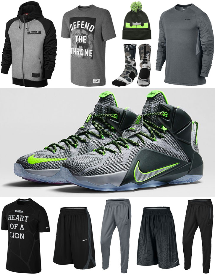 7eb8924f9bd9 Nike LEBRON 12 Dunk Force Clothing Apparel Shirts and Shorts ...