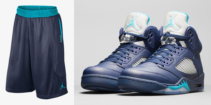 "competitive price 6752b 61adc air-jordan-5-hornets-shorts. Made to match with the Hornets colored Air  Jordan 5 Retro ""Pre-Grape"" release is this Midnight Navy and Turquoise ..."