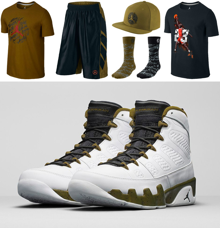 2f8440e61dbf10 Air Jordan 9 Statue Clothing Shirts Socks and Shorts