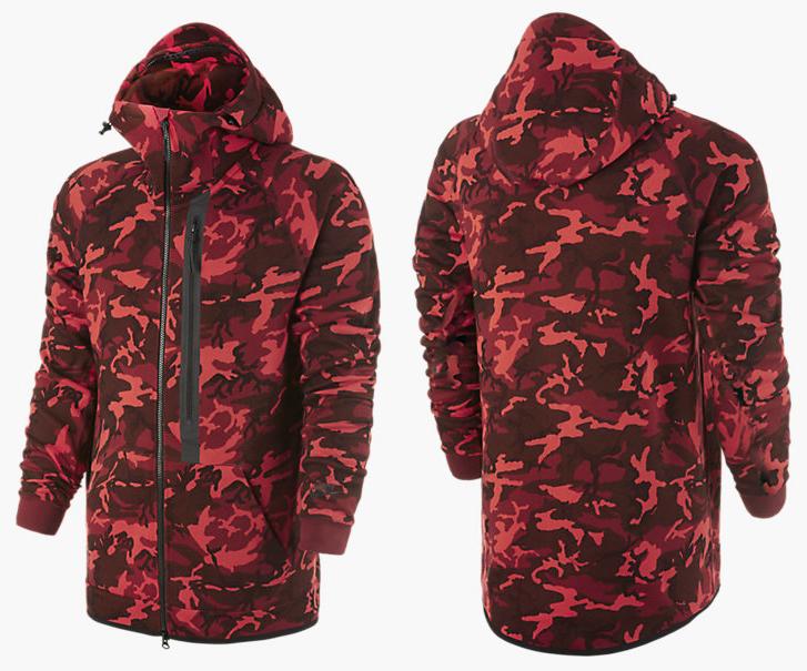 3ad64f0ea5bf Nike Tech Fleece Camo Hoodie Team Red