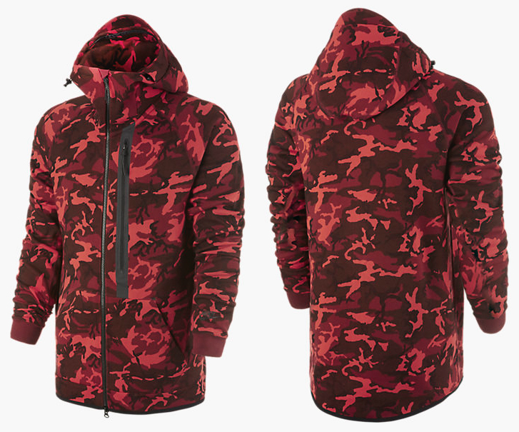fashion styles low price exquisite style Nike Tech Fleece Camo Hoodie Team Red | SportFits.com