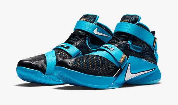 "9704a854d4454 Nike LeBron Soldier 9 ""Black Blue Lagoon Laser Orange White"""