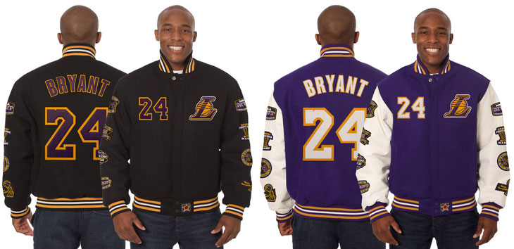 32cd86a80659 Commemorate Kobe Bryant s Career with these L.A. Lakers Wool   Leather  Jackets