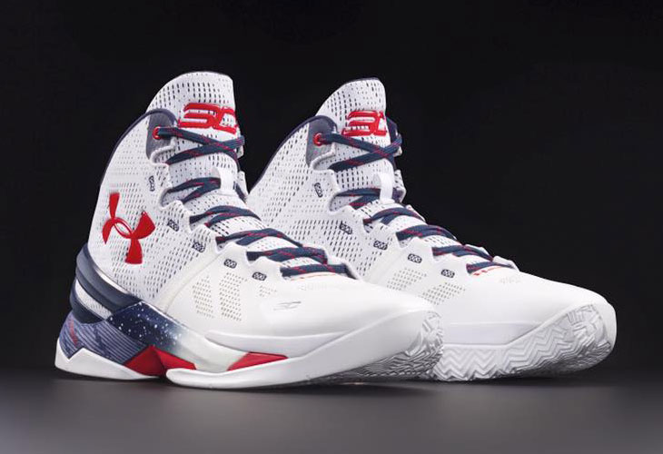 0cbfb753657 Under Armour Curry Two Red White and Blue