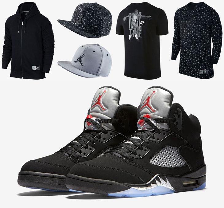 78fc0ee9ca16e8 Air Jordan 5 Black Metallic Silver Clothing