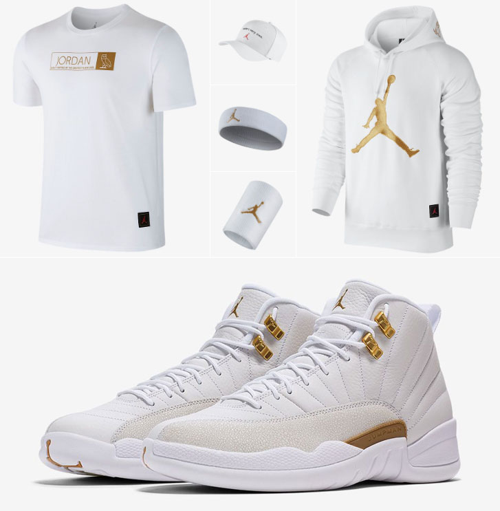 6e2b4a51921 Air Jordan 12 OVO White Gold Clothing | SportFits.com