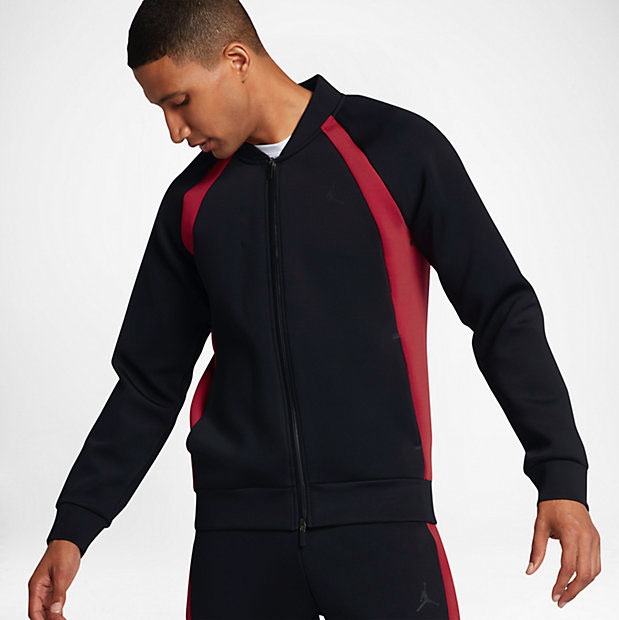 123b4fd712f Jordan Sportswear Flight Tech Jacket Black Red | SportFits.com