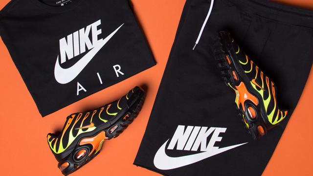cc494c95 Nike Air Max Plus Black Orange Volt Shirt and Shorts Match ...