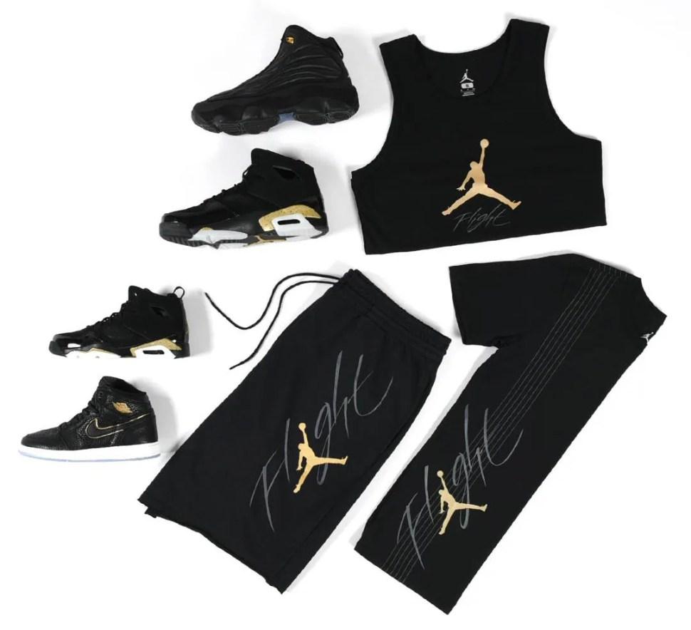 92d810ad1980bc Jordan Black and Gold Flight Clothing