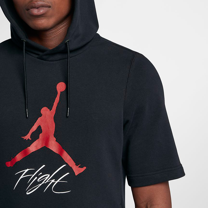 92e1603c6abf ... low cost jordan jumpman flight short sleeve hoodie black 2 0cb45 1a02c