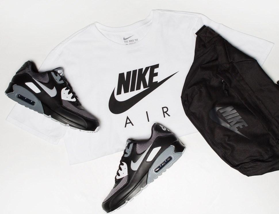 pretty nice d2a43 93b85 nike-air-max-90-black-wolf-grey-shirt-