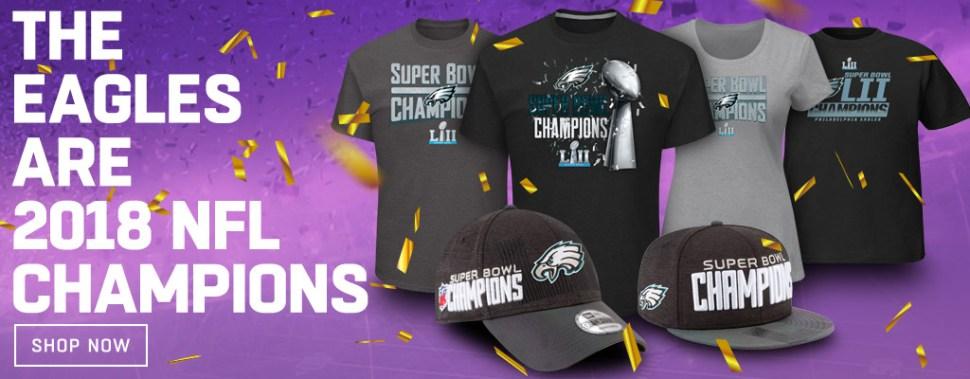 f8f0648928d6b Eagles Super Bowl LII 2018 NFL Champions Shirts Hats and Gear ...