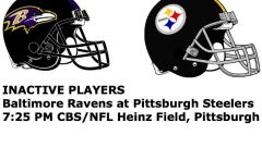 Steelers 20 v Ravens 23 Inactives, Live Scores and Updates