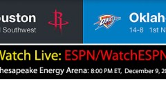 Westbrook v Harden: NBA Live ESPN Schedule – Dec. 9